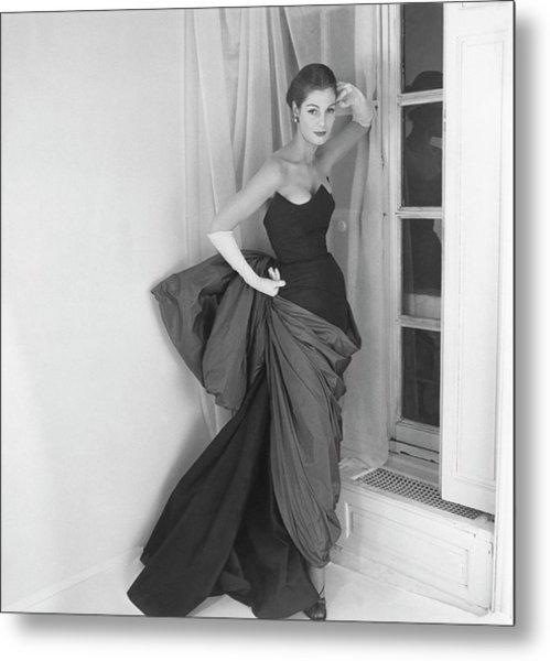 A Model In A Schiaparelli Dress Metal Print by Henry Clarke