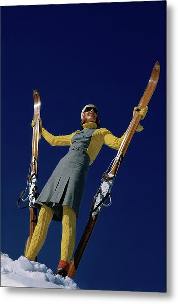 A Model In A Ski Suit Metal Print
