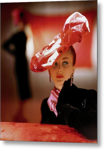 A Model In A Suzanne Et Roger Hat Metal Print by John Rawlings