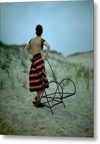 A Model On A Beach Metal Print by Serge Balkin