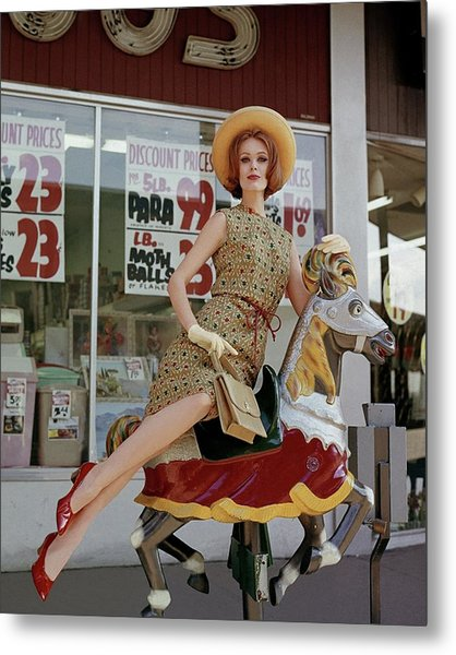 A Model Sitting On A Rocking Horse Metal Print by George Barkentin