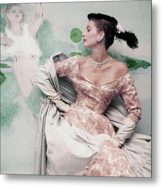 A Model Wearing A Balenciaga Dress Metal Print