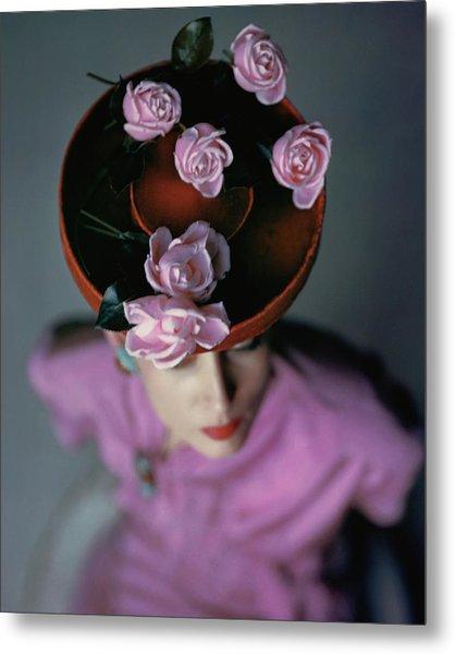 A Model Wearing A Bonwit Teller Hat Metal Print by John Rawlings