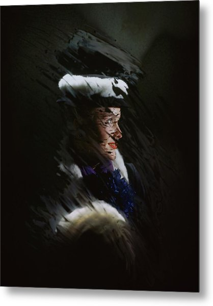 A Model Wearing A Coat And Hat Metal Print by John Rawlings