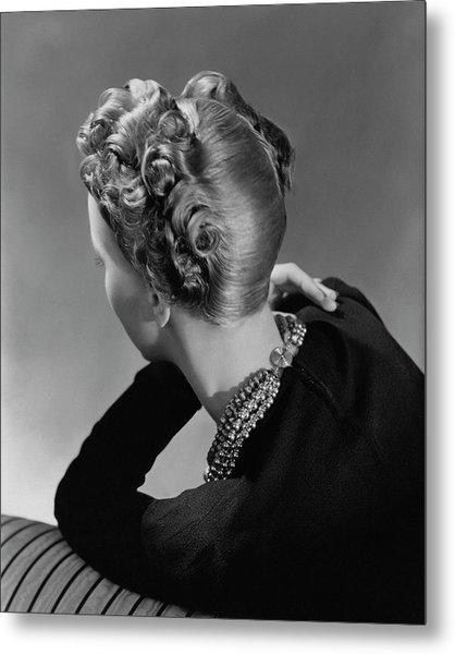 A Model Wearing A Curled Hairstyle Metal Print by John Rawlings