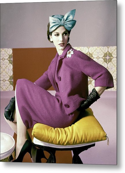 A Model Wearing A Dress Suit Metal Print by Horst P. Horst