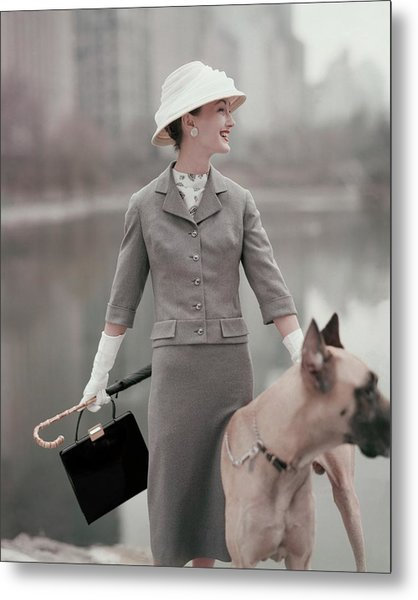 A Model Wearing A Gray Suit With A Dog Metal Print