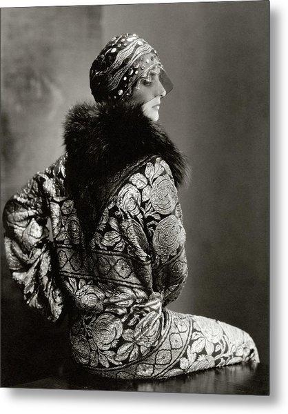 A Model Wearing A Headdress And Brocade Coat Metal Print by Edward Steichen
