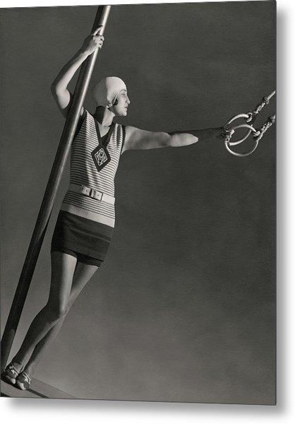 A Model Wearing A Jean Patou Bathing Suit Metal Print by George Hoyningen-Huene