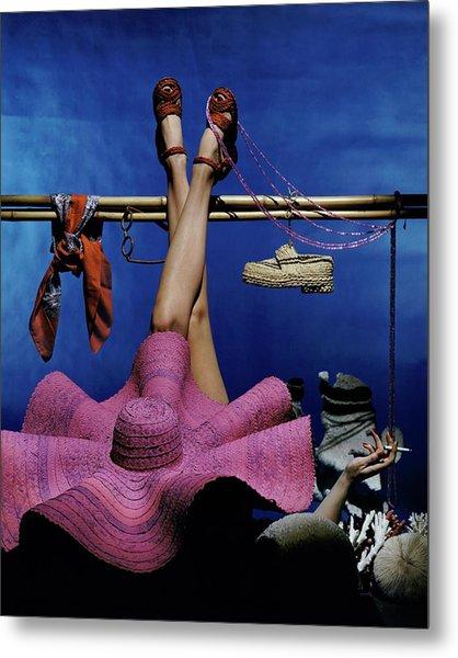 A Model Wearing A Pink Hat Metal Print by John Rawlings