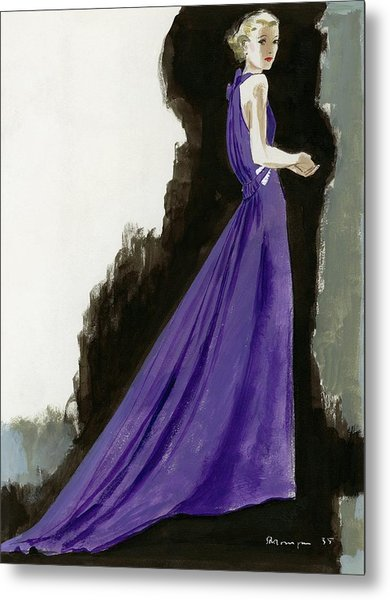 A Model Wearing A Purple Evening Dress Metal Print by Pierre Mourgue