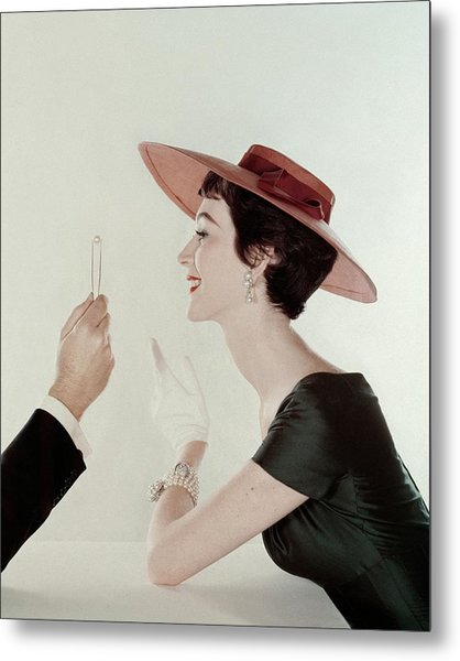 A Model Wearing A Sun Hat And Dress Metal Print by John Rawlings
