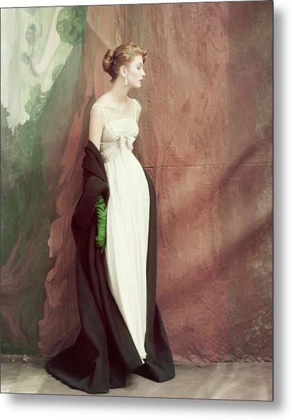 A Model Wearing A White Dress Metal Print