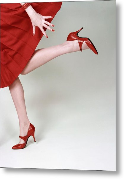 A Model Wearing Fleming-joffe Shoes Metal Print