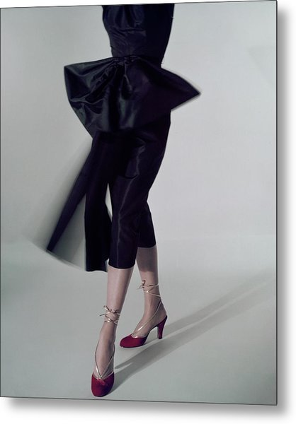 A Model Wearing Red Shoes Metal Print