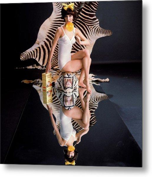A Model With Animal Skins Metal Print