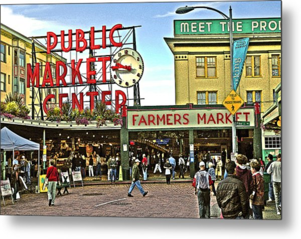 A Morning At Pikes Place Market Metal Print
