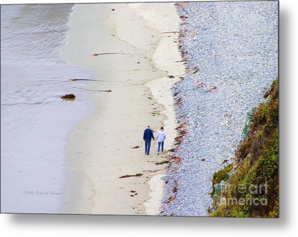 A Morning Walk Along The Beach  Metal Print