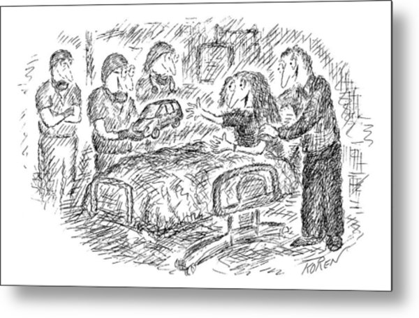 A Mother, Who Has Just Given Birth, Reaches Metal Print