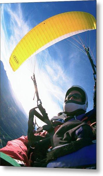 A Paraglider Flight Over The San Juan Metal Print