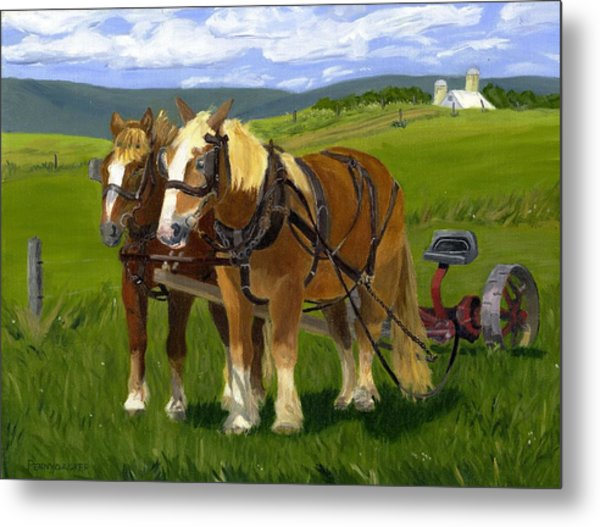 A Pause In The Mowing Metal Print