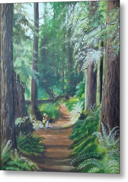 A Peaceful Walk In The Redwoods Metal Print by Terry Godinez