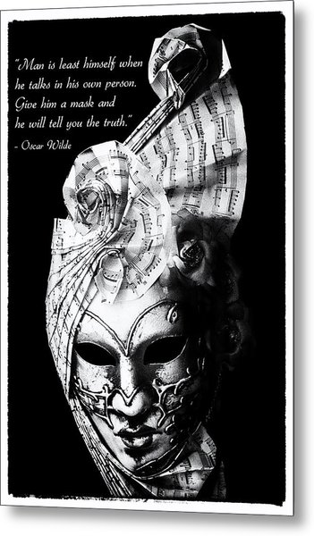 A Picture Of A Venitian Mask Accompanied By An Oscar Wilde Quote Metal Print