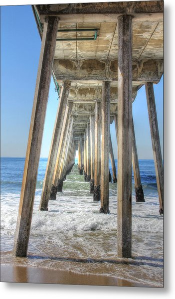 A Pier From Under Metal Print