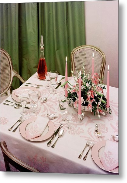 A Pink Table Setting Metal Print