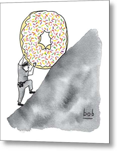 A Police Officer Pushes A Giant Donut Up A Hill Metal Print