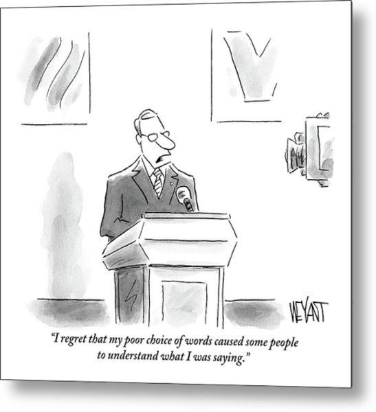 A Politician Speaks At A Podium Metal Print