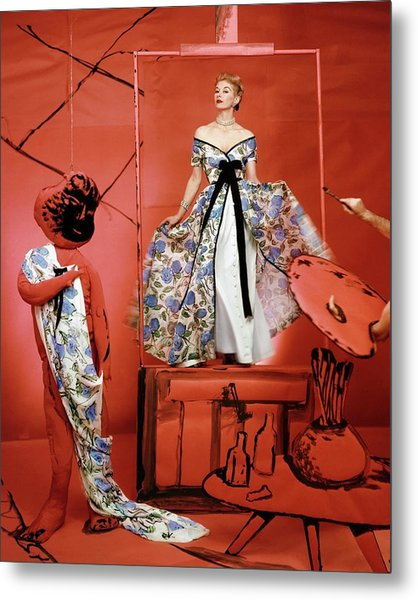 A Portrait Of Lisa Fonnsagrives On A Red Set Metal Print by Horst P. Horst