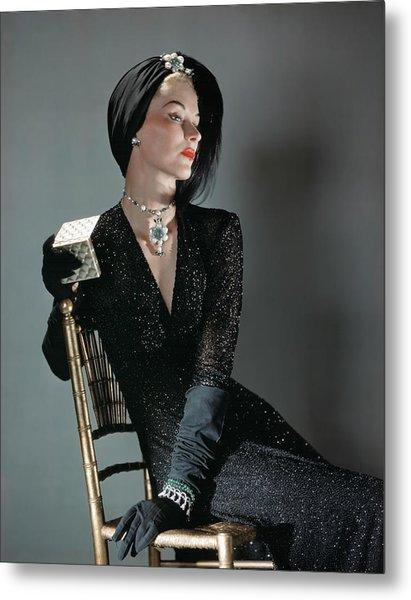 A Portrait Of Lisa Fonssagrives Sitting Metal Print