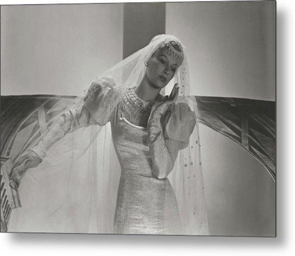 A Portrait Of Lisa Fonssagrives Wearing A Wedding Metal Print