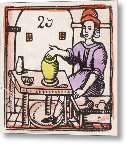 A Potter At The Wheel          Date Metal Print