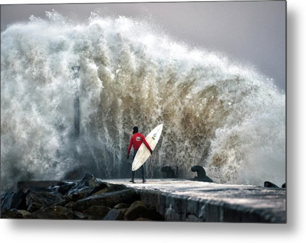 A Pro-surfer Waits For A Break In The Metal Print by Charles Mcquillan