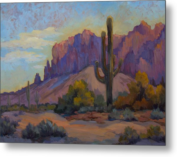 A Proud Saguaro At Superstition Mountain Metal Print