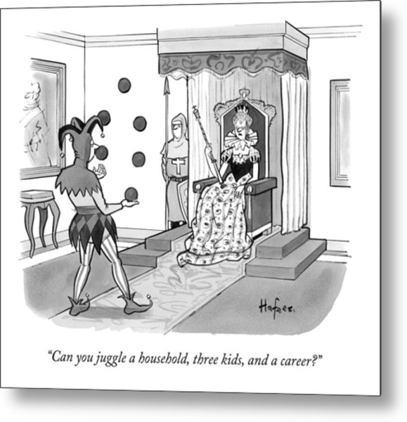 A Queen Talks To A Juggling Court Jester Metal Print