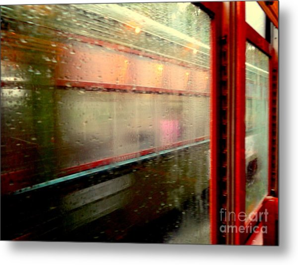 New Orleans Rainy Day Ride On The St. Charles Avenue Street Car In Louisiana Metal Print