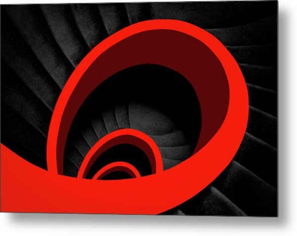 A Red Spiral Metal Print by Inge Schuster