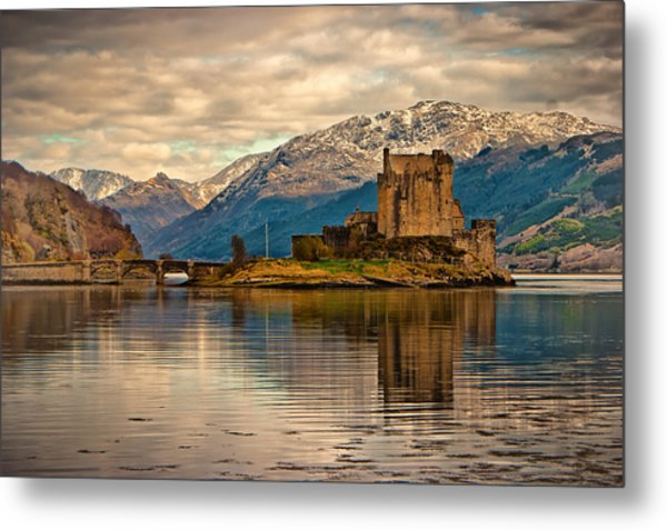 A Reflection At Eilean Donan Castle Metal Print