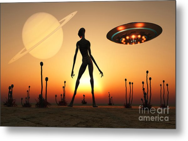 A Reptoid Alien Attending Its Garden Metal Print