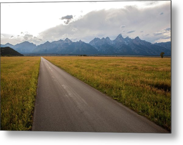 A Road Leading Toward The Grand Teton Metal Print