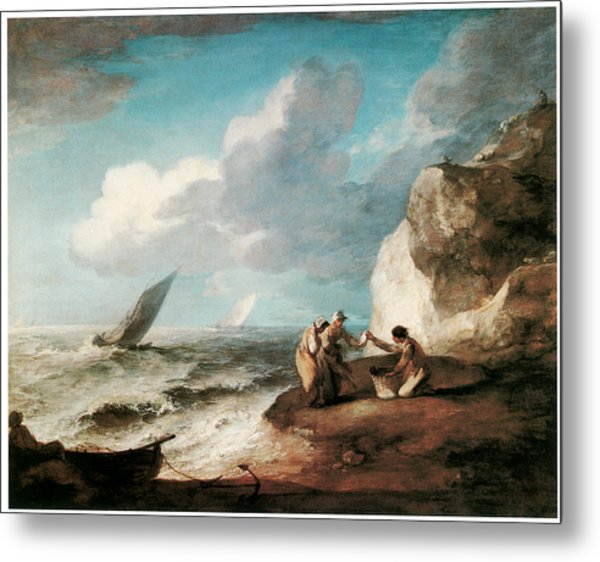 A Rocky Coastal Scene Metal Print by Thomas Gainsborough