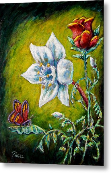 A Rose A Lily And A Butterfly Metal Print