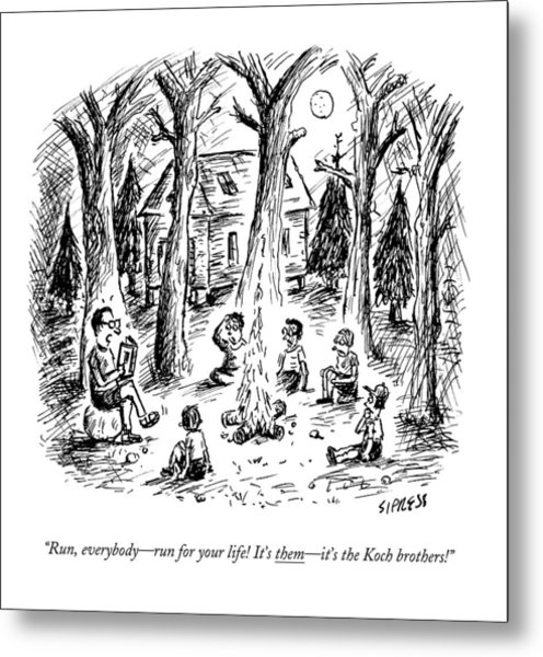 A Scout Leader Tells A Group Of Young Campers Metal Print