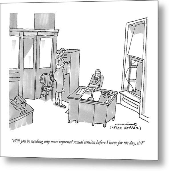 A Secretary Says To Her Boss In An Edward Hopper Metal Print