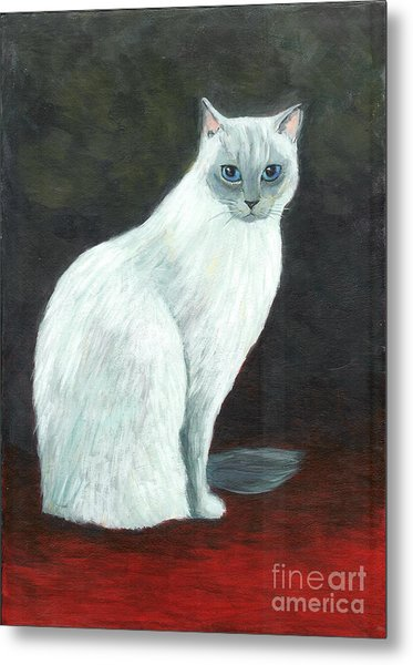 A Siamese Cat On Red Mat Metal Print