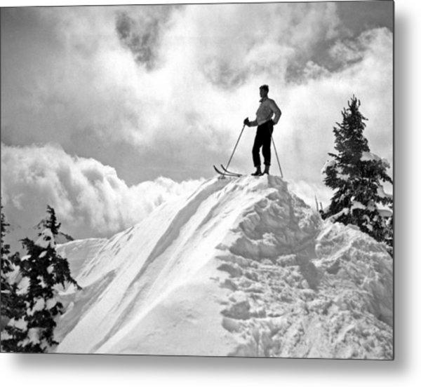 A Skier On Top Of Mount Hood Metal Print