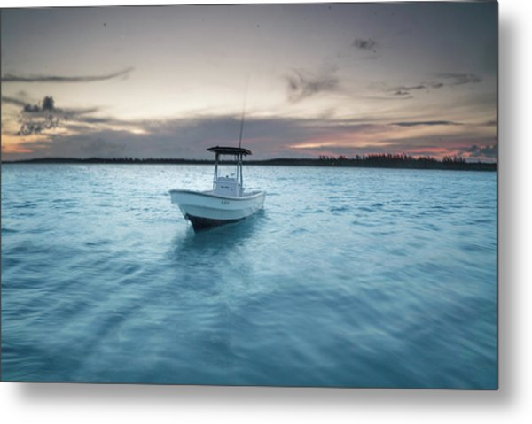 A Skiff Anchored Off The Coast Of Cat Metal Print